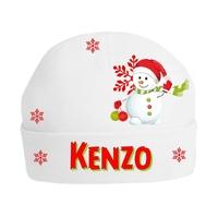 Bonnet Bébé Noël Bonhomme de neige personnalisé avec prénom