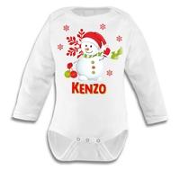 Body bébé Noël Bonhomme de neige personnalisé avec prénom au choix