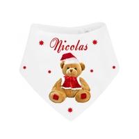 Bavoir bébé bandana Noël Ourson personnalisé avec prénom