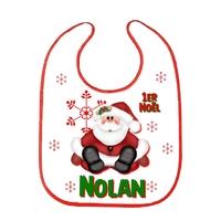 Bavoir bébé 1er Noël personnalisé avec prénom