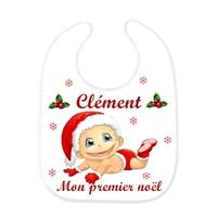 Bavoir bébé Mon premier Noël personnalisé avec prénom