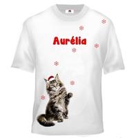Tee shirt enfant Chat de noël personnalisé avec prénom