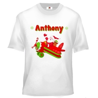Tee shirt enfant Père noël en avion  personnalisé avec prénom