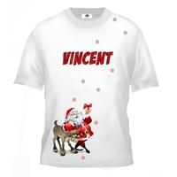 Tee shirt enfant Père noël et renne personnalisé avec prénom