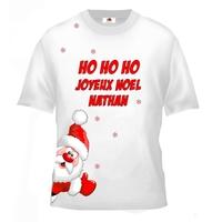 Tee shirt enfant Père noël Joyeux noël personnalisé avec prénom