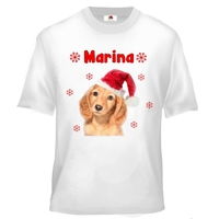 Tee shirt enfant Chien de noël personnalisé avec prénom