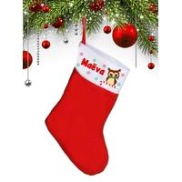 Botte chaussette de noël Chouette hibou personnalisée avec prénom