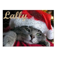 Puzzle Chat Chaton de Noël personnalisé avec prénom 35,70 ou 96 pièces