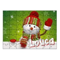 Puzzle Bonhomme de neige Noël personnalisé avec prénom 35,70 ou 96 pièces