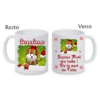 Mug (tasse) céramique Noël Bonhomme neige personnalisé avec prénom et message