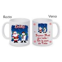 Mug (tasse) céramique Noël Père noël personnalisé avec prénom et message