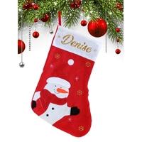 Botte chaussette de noël G02 Bonhomme de neige personnalisée avec prénom