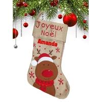 Botte chaussette de noël en lin Renne personnalisée avec prénom