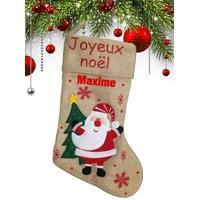 Botte chaussette de noël en lin Père noël personnalisée avec prénom