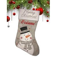 Botte chaussette de noël Grise Bonhomme de neige personnalisée avec prénom