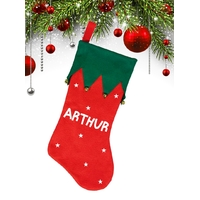 Botte chaussette de noël Lutin Elfe personnalisée avec prénom