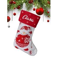 Botte chaussette de noël (ref H02) Bonhomme de neige personnalisée avec prénom