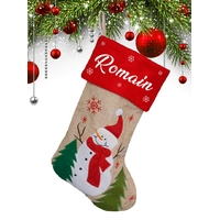 Botte chaussette de noël F02 Bonhomme de neige personnalisée avec prénom