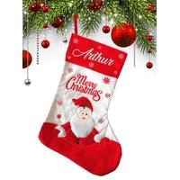 Botte chaussette de noël Père Noël personnalisée avec prénom