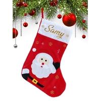 Botte chaussette de noël G01 Père Noël personnalisée avec prénom