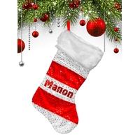 Botte chaussette de noël Rayures Pailettes personnalisée avec prénom