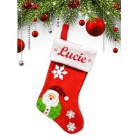 Botte chaussette de noël A02 Père Noël personnalisée avec prénom