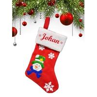 Botte chaussette de noël A01 Bonhomme de neige personnalisée avec prénom
