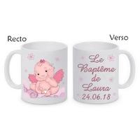 Mug (tasse) Baptême fille personnalisé avec le prénom et la date de votre choix