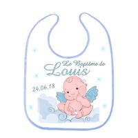 Bavoir bébé Baptême Garçon personnalisé avec prénom et date