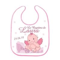 Bavoir bébé Baptême Fille personnalisé avec prénom et date