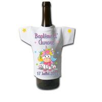 Mini tee shirt bouteille Baptême Grenouille personnalisé avec prénom et date