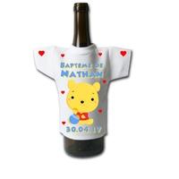 Mini tee shirt pour bouteille Baptême Ourson personnalisé avec prénom et date