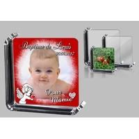 Cadre photo en verre Baptême (rouge) personnalisé avec votre photo et votre texte