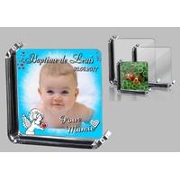 Cadre photo en verre Baptême  (bleu) personnalisé avec votre photo et votre texte