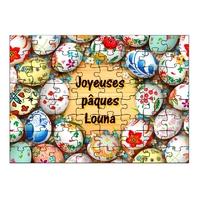 Puzzle Oeufs Pâques personnalisé avec prénom 35,70 ou 96 pièces