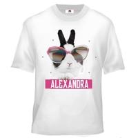 Tee shirt enfant Lapin Pâques personnalisé avec prénom