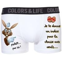 Boxer caleçon homme humour Pâques La chasse aux oeufs !