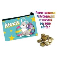 Porte monnaie Pâques garçon personnalisé avec prénom au choix