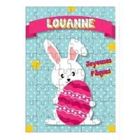 Puzzle Pâques Lapin personnalisé avec prénom 35,70 ou 96 pièces