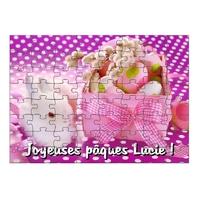 Puzzle Pâques  personnalisé avec prénom 35,70 ou 96 pièces