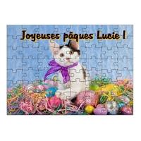 Puzzle Pâques Chat personnalisé avec prénom 35,70 ou 96 pièces