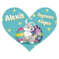 Puzzle coeur Pâques garçon personnalisé avec prénom