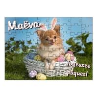 Puzzle Pâques Chien Chihuahua personnalisé avec prénom 35,70 ou 96 pièces