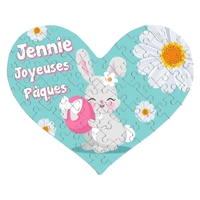 Puzzle coeur Pâques Fille personnalisé avec prénom