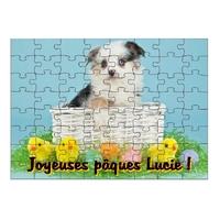 Puzzle Pâques Chien  personnalisé avec prénom 35,70 ou 96 pièces