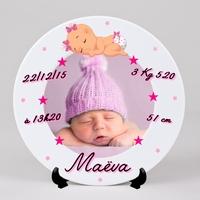 Assiette personnalisée Naissance Fille avec votre photo, prénom, date de naissance.....