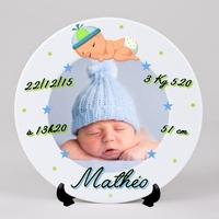 Assiette personnalisée Naissance Garçon avec votre photo, prénom, date de naissance.....