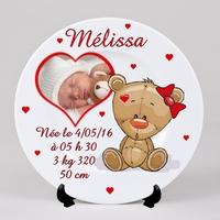 Assiette personnalisée Ourson Fille avec votre photo, prénom, date de naissance.....