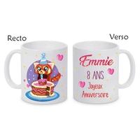 Mug (tasse) céramique Anniversaire Panda roux personnalisé avec prénom et âge