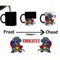 Mug tasse magique Dinosaure Superdino personnalisé avec prénom